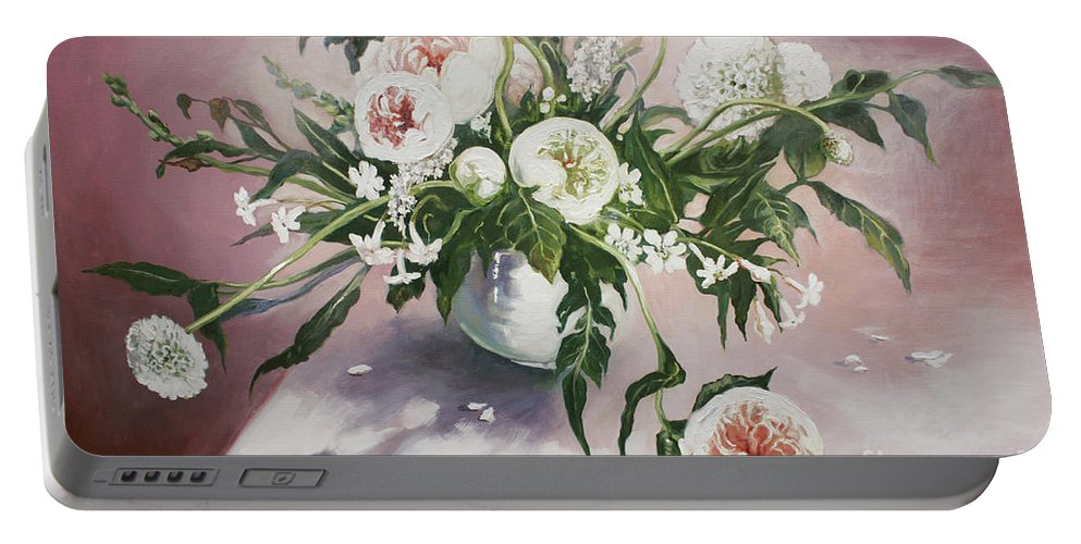 Lin Petershagen Portable Battery Charger featuring the painting Dahlia Vase by Lin Petershagen