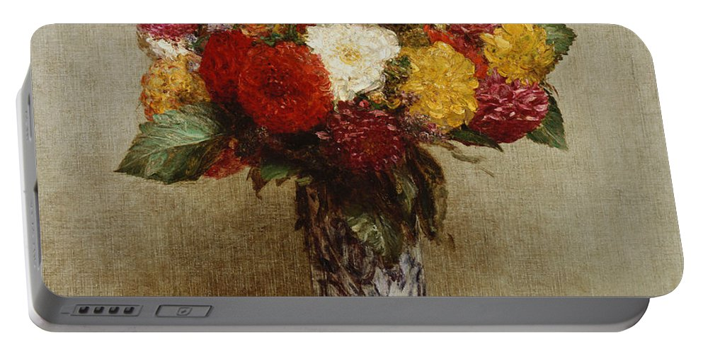 Dahlias In A Chinese Vase Portable Battery Charger featuring the painting Dahlias In A Chinese Vase by Ignace Henri Jean Fantin-Latour