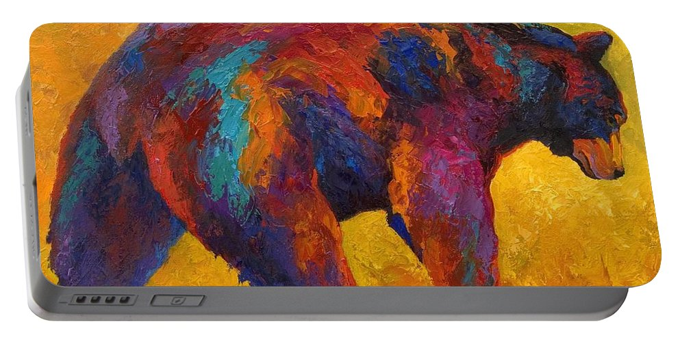 Bear Portable Battery Charger featuring the painting Daily Rounds - Black Bear by Marion Rose