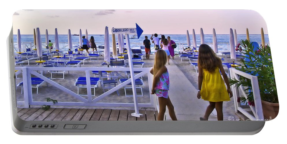 Mondello Beach Portable Battery Charger featuring the photograph Daily Ticket Aka Giornaliero by Madeline Ellis
