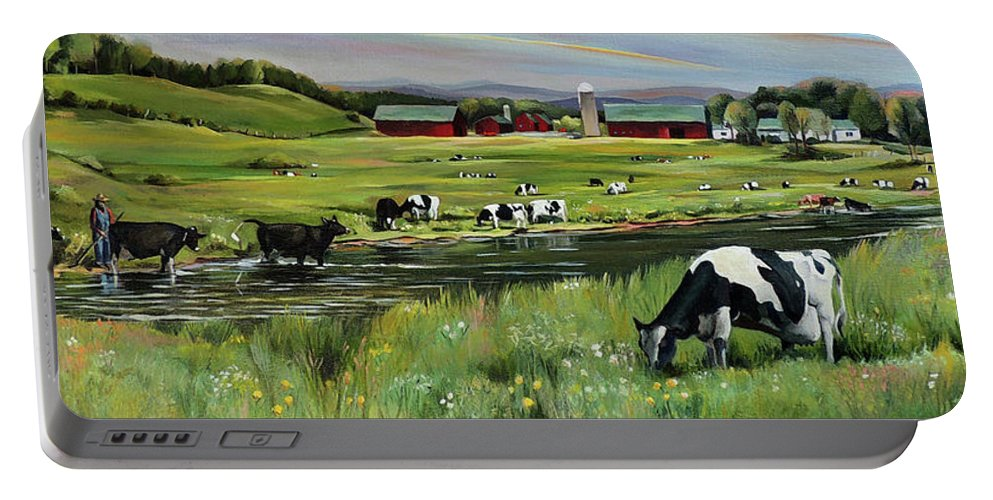 Landscape Portable Battery Charger featuring the painting Dairy Farm Dream by Nancy Griswold