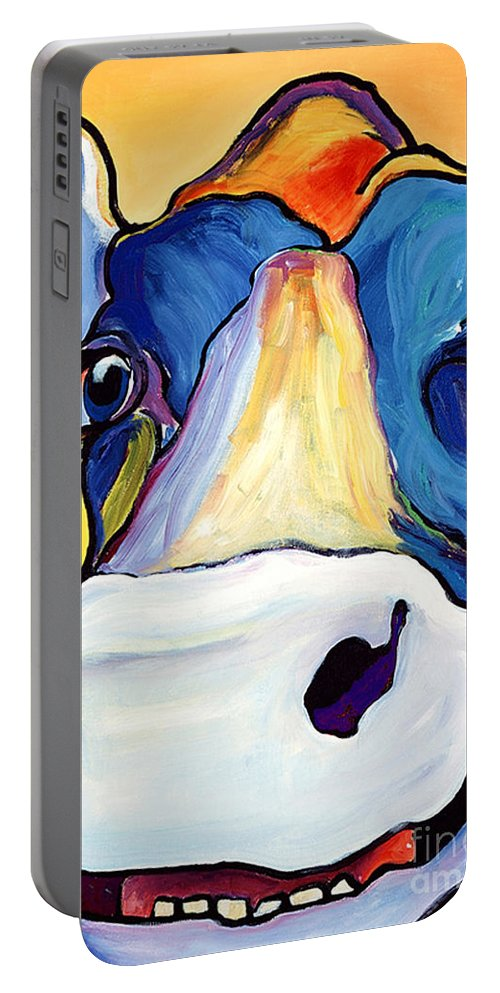 Cow Print Portable Battery Charger featuring the painting Dairy Queen I  by Pat Saunders-White