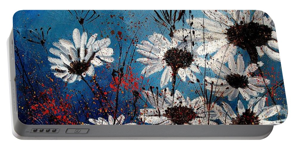 Flowers Portable Battery Charger featuring the painting Daisies 59060 by Pol Ledent