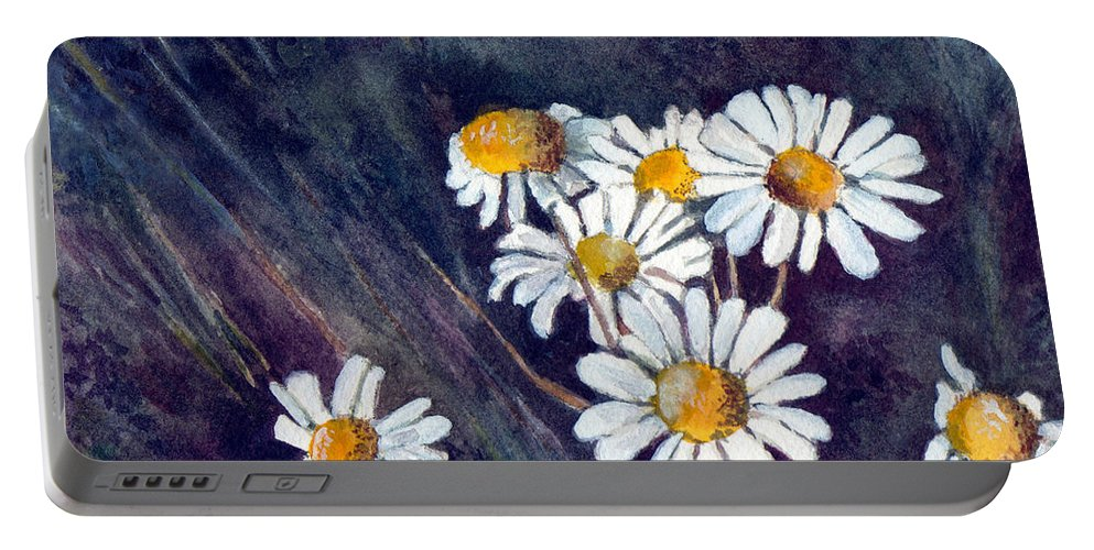 Watercolor Still Life Daisies Flowers Floral Portable Battery Charger featuring the painting Daisies by Brenda Owen