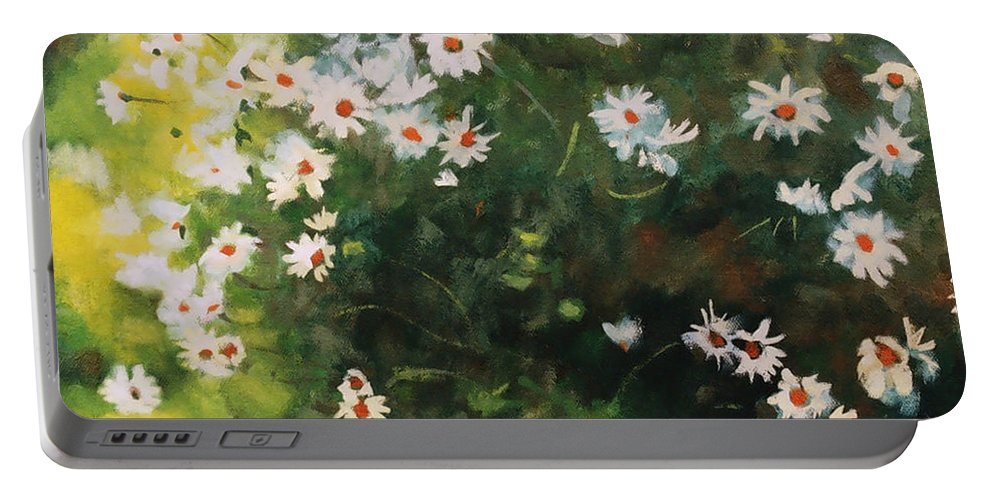 Daisies Portable Battery Charger featuring the painting Daisies by Iliyan Bozhanov