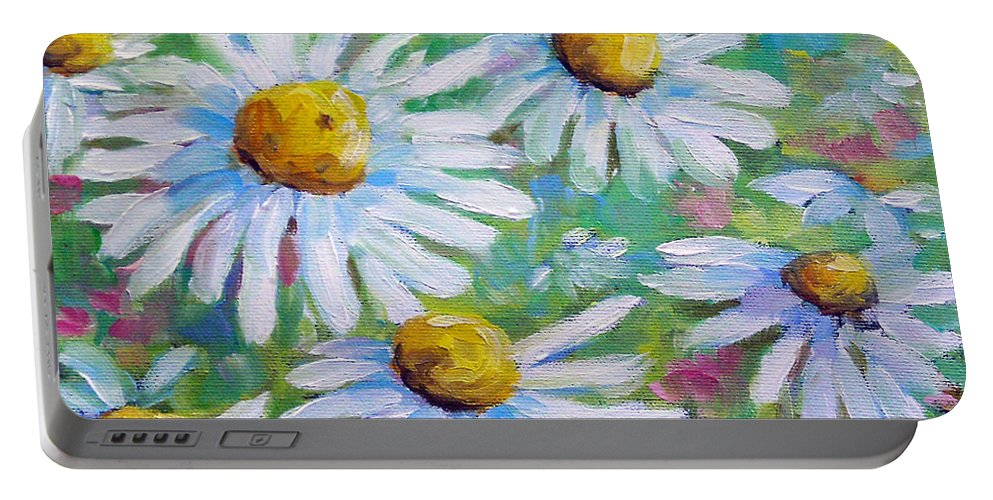 Art Portable Battery Charger featuring the painting Daisies In Spring by Richard T Pranke