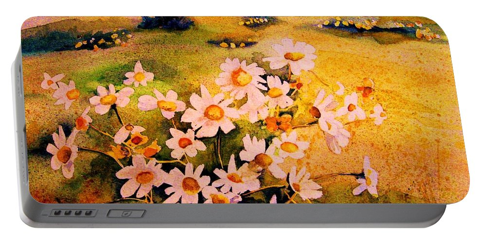 Daisies Portable Battery Charger featuring the painting Daisies In The Sun by Carole Spandau