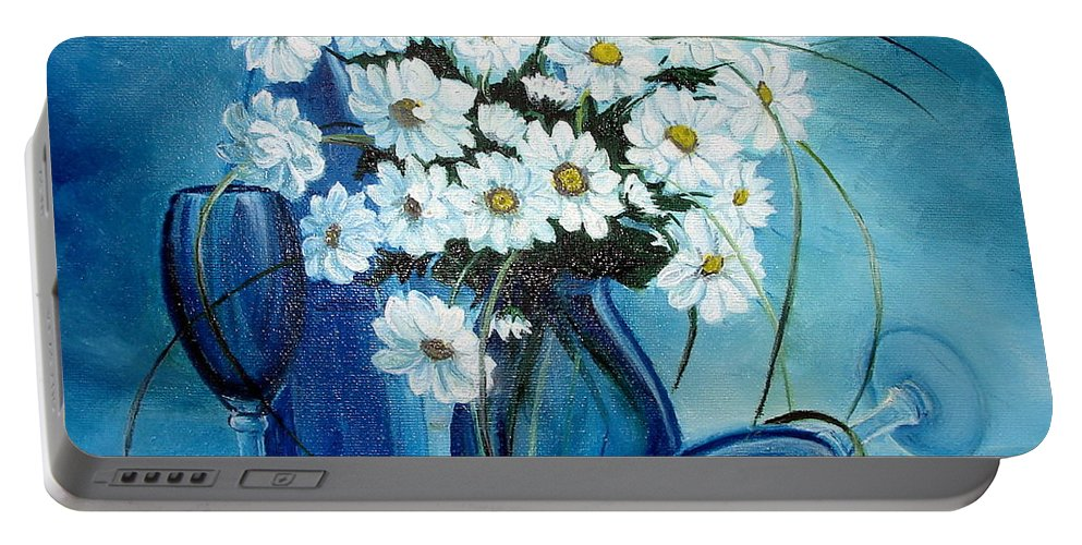 Daisies Portable Battery Charger featuring the painting Daisies by Sorin Apostolescu