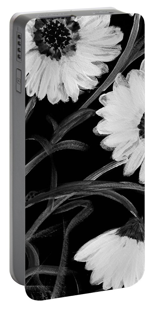 Pretty Daisies Getting Ready For Bed. Black And White Acrylic Portable Battery Charger featuring the painting Daisies St Night by Sue Dowdall