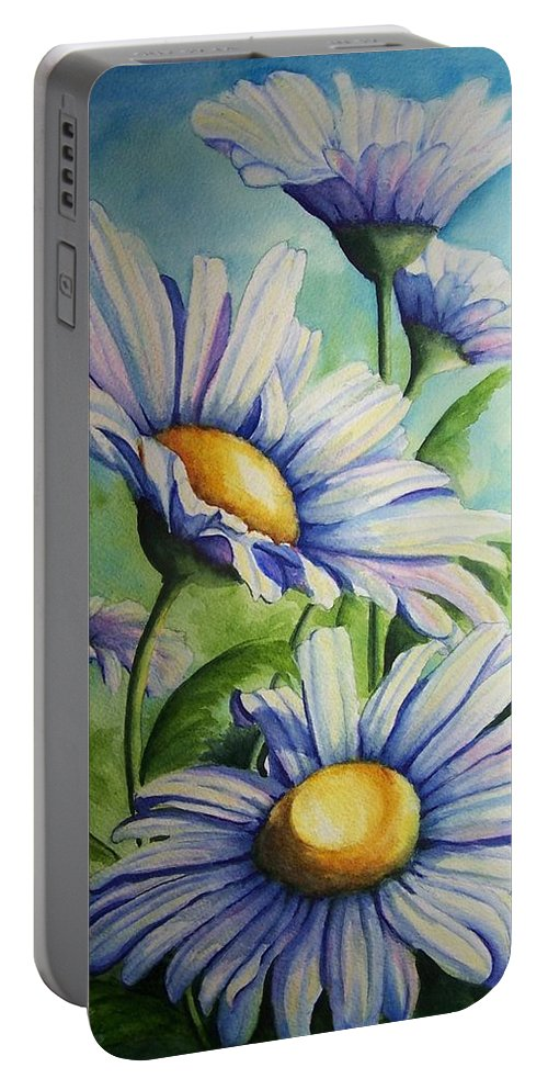 Floral Portable Battery Charger featuring the painting Daisy Blue by Conni Reinecke