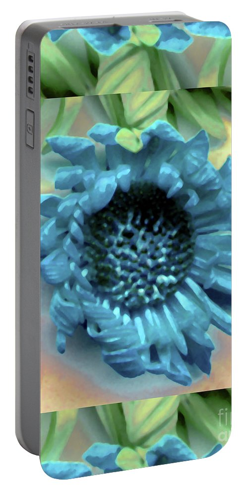 Blue Digital Daisy Leaf Leaves Green Watercolor Portable Battery Charger featuring the photograph Daisy Blue Frame by Heather Kirk