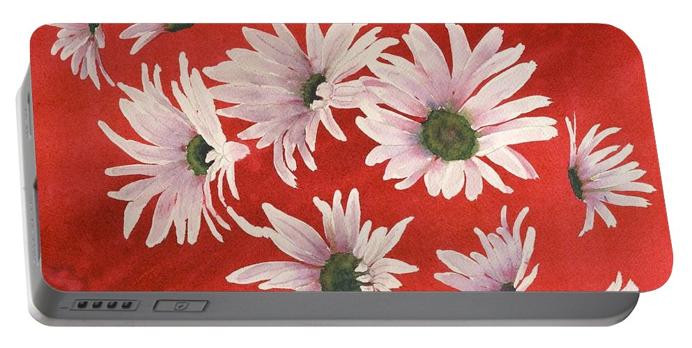 Flowers Portable Battery Charger featuring the painting Daisy Chain by Ruth Kamenev