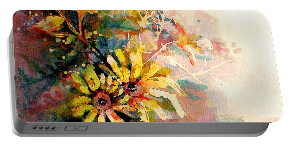 Flowers Portable Battery Charger featuring the painting Daisy Day by Linda Shackelford