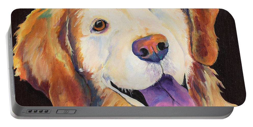 Pet Portraits Portable Battery Charger featuring the painting Daisy by Pat Saunders-White