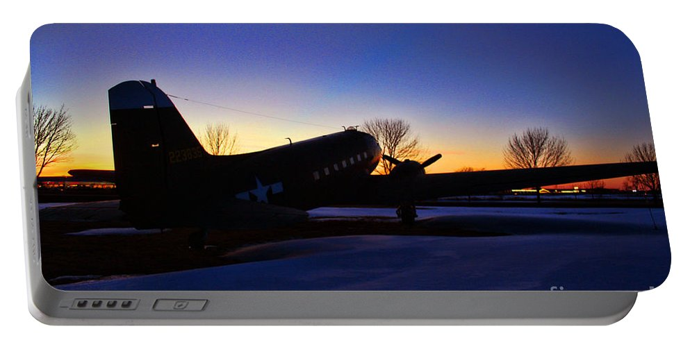 Douglas C-47 Portable Battery Charger featuring the photograph Dakota A Sunset by Tommy Anderson