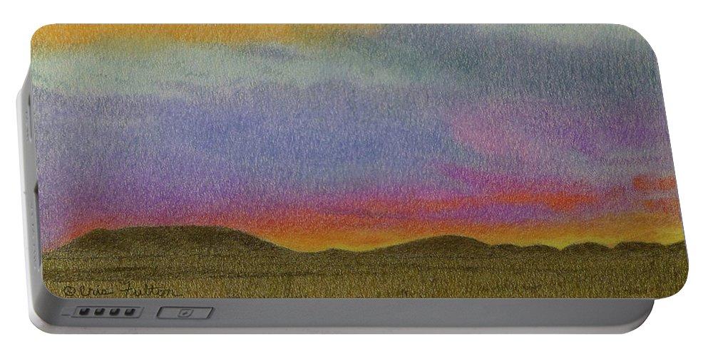 North Dakota Portable Battery Charger featuring the pastel Dakota Sunset Glow by Cris Fulton
