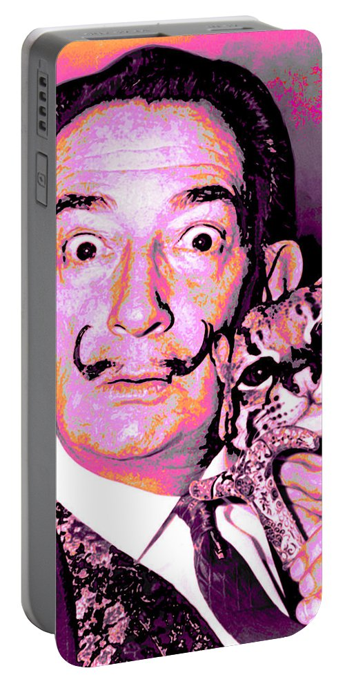Dali Portable Battery Charger featuring the digital art Dali With Ocelot And Cane by Joy McKenzie