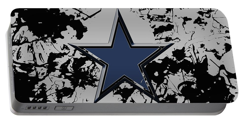 Dallas Cowboys Portable Battery Charger featuring the mixed media Dallas Cowboys 1b by Brian Reaves
