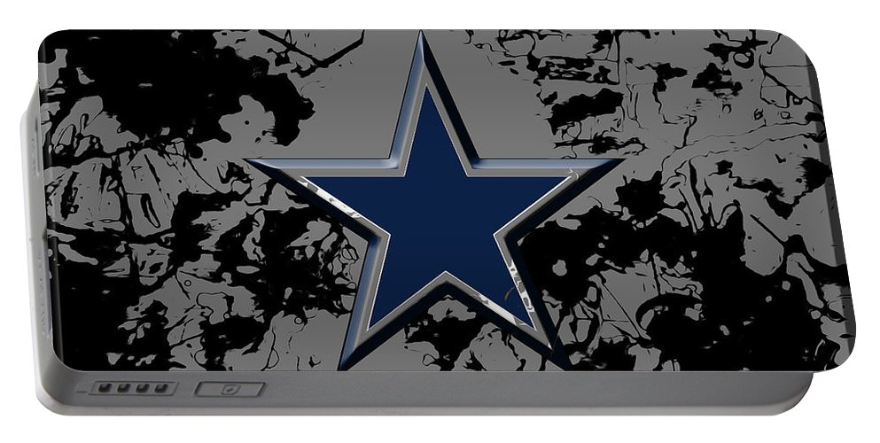 Dallas Cowboys Portable Battery Charger featuring the mixed media Dallas Cowboys B1 by Brian Reaves