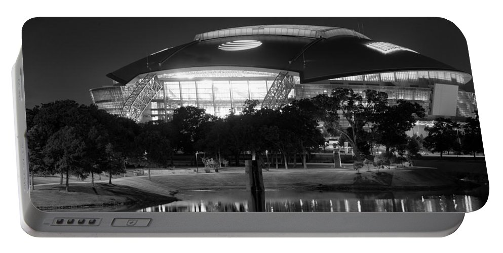 Dallas Portable Battery Charger featuring the photograph Dallas Cowboys Stadium Bw 032115 by Rospotte Photography