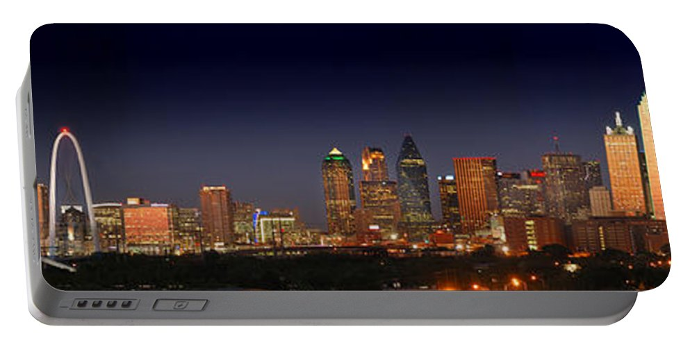 Dallas Skyline Night Portable Battery Charger featuring the photograph Dallas Skyline At Dusk Big Moon Night by Jon Holiday
