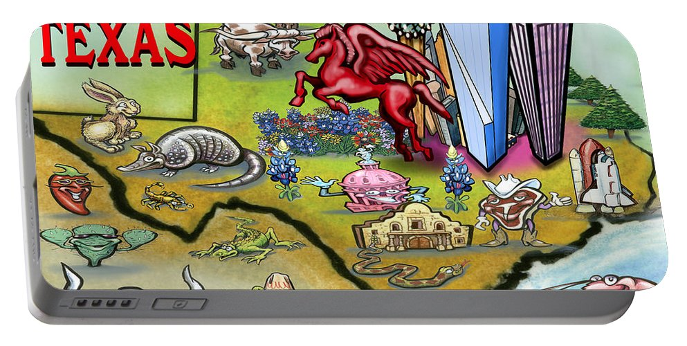 Dallas Portable Battery Charger featuring the digital art Dallas Texas Cartoon Map by Kevin Middleton