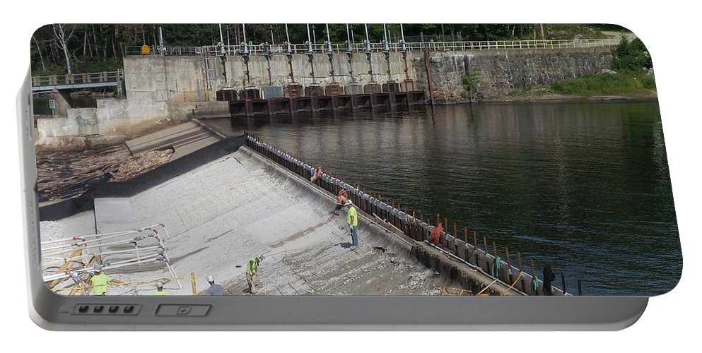 Dam Repairs Along The Androscoggin River Portable Battery Charger featuring the photograph Dam Repairs Along The Androscoggin River by Mike Breau