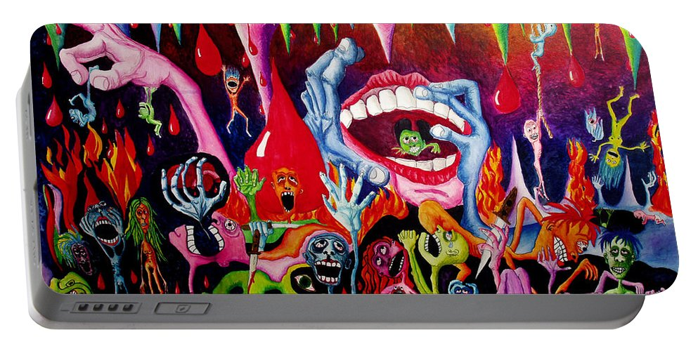 Hell Portable Battery Charger featuring the painting Damnation Of The Evil by Nancy Mueller