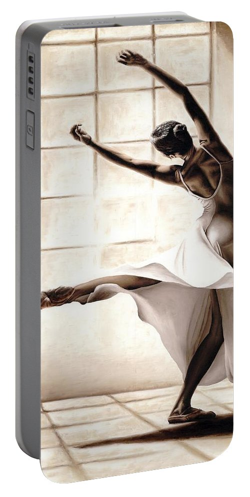 Dancer Portable Battery Charger featuring the painting Dance Finesse by Richard Young
