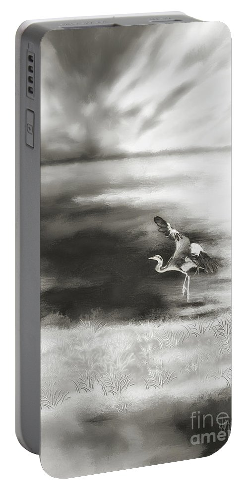 Egret Portable Battery Charger featuring the digital art Dance Like Nobody's Watching by Lois Bryan