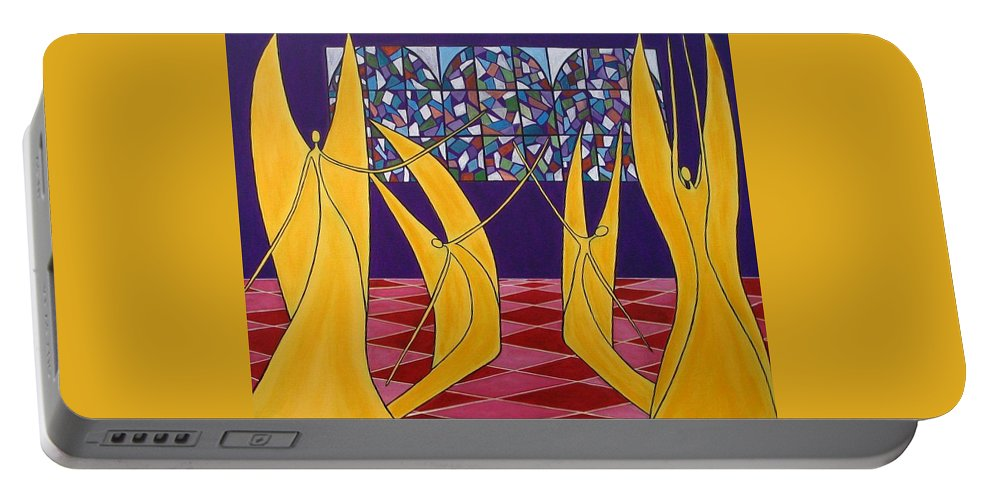 Dance Of Angels Portable Battery Charger featuring the painting Dance Of Angels by Sandra Marie Adams
