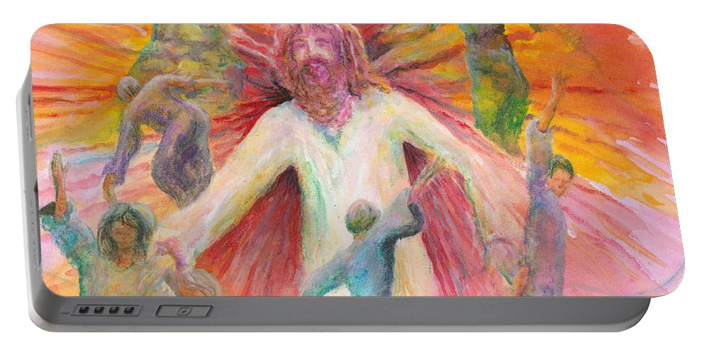 Jesus Portable Battery Charger featuring the painting Dance of Freedom by Nadine Rippelmeyer