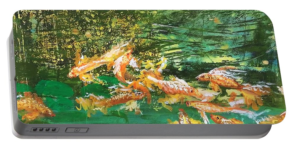 Gold Fish Portable Battery Charger featuring the painting Dance of Golden Angels by J Bauer