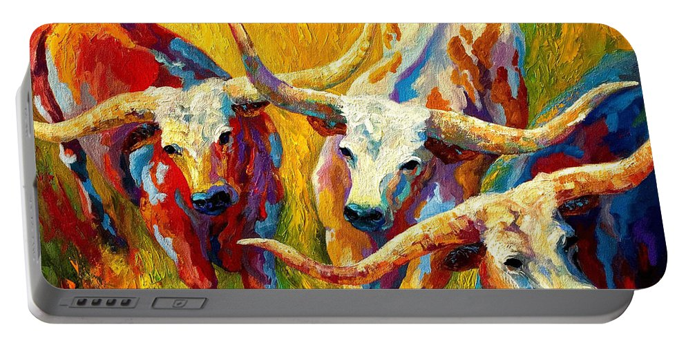 Western Portable Battery Charger featuring the painting Dance Of The Longhorns by Marion Rose