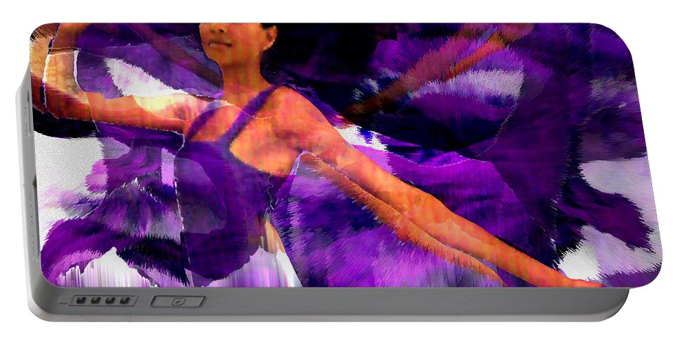 Mystical Portable Battery Charger featuring the digital art Dance Of The Purple Veil by Seth Weaver