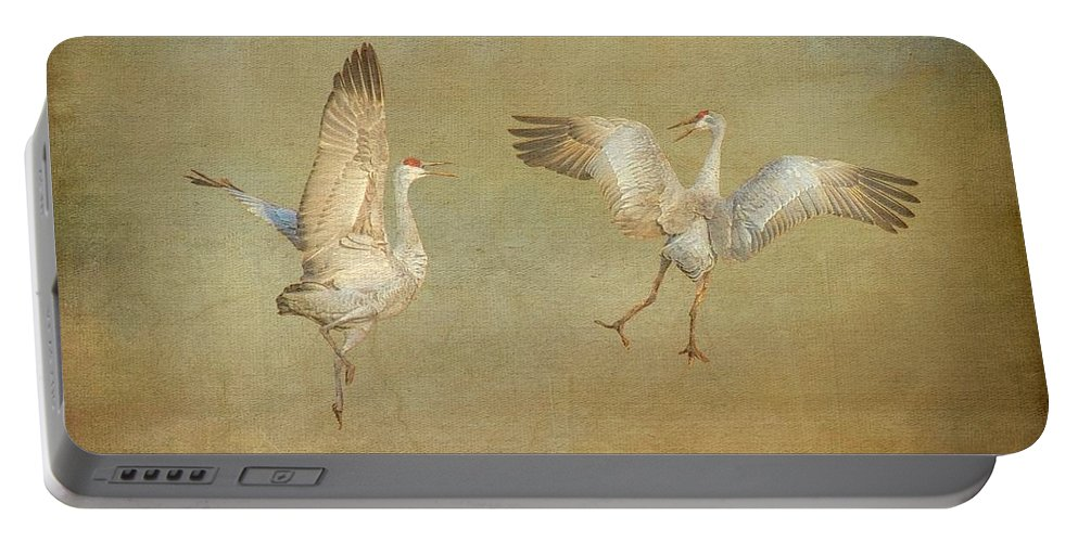 Nature Portable Battery Charger featuring the photograph Dance Ritual II, Sandhill Cranes by Zayne Diamond Photographic