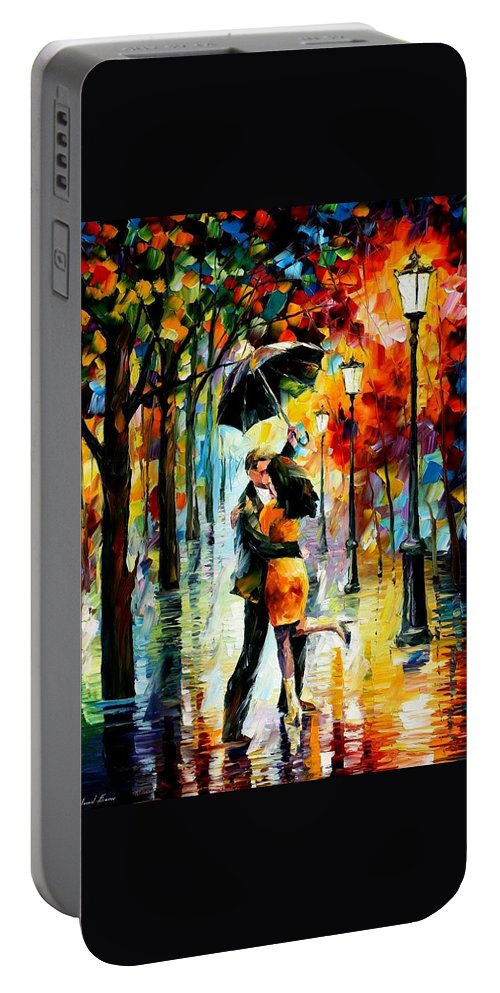 Afremov Portable Battery Charger featuring the painting Dance Under The Rain by Leonid Afremov