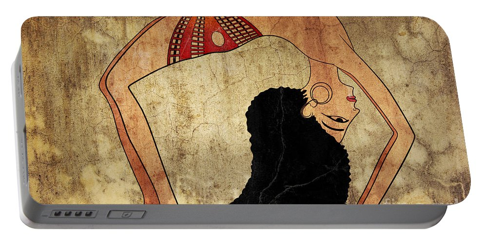 Dancer Portable Battery Charger featuring the mixed media dancer of Ancient Egypt by Michal Boubin
