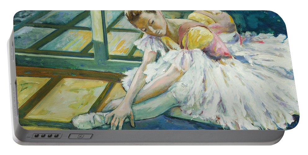 Glass Portable Battery Charger featuring the painting Dancer by Rick Nederlof