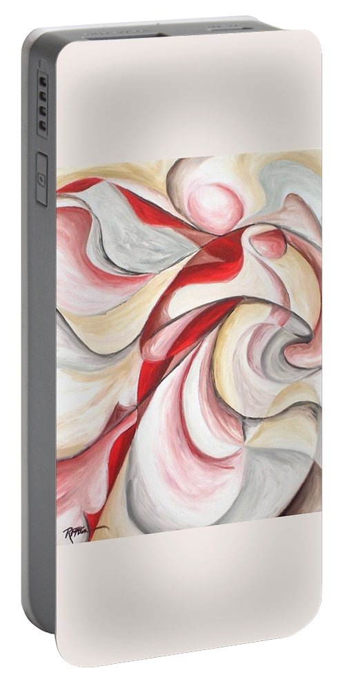 Abstract Portable Battery Charger featuring the painting Dancer by Rowena Finn