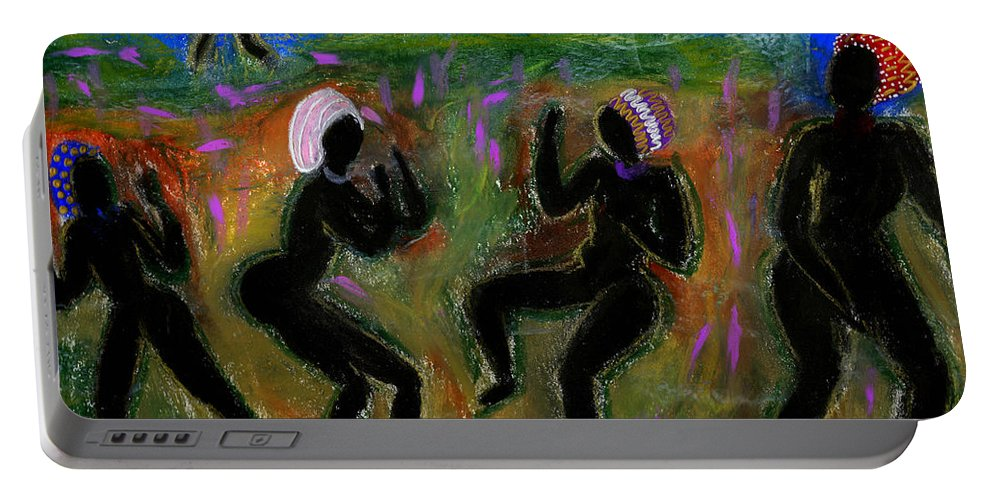 Oil Portable Battery Charger featuring the painting Dancing A Deliverance Prayer by Angela L Walker