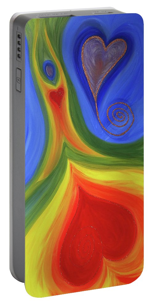 Angels Portable Battery Charger featuring the painting Dancing Earth Goddess by Jayne Britton