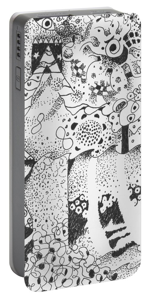 Abstract Portable Battery Charger featuring the drawing Dancing In The Dark by Helena Tiainen