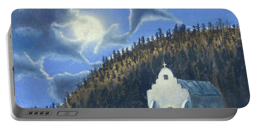 Landscape Portable Battery Charger featuring the painting Dancing In The Moonlight by Jerry McElroy