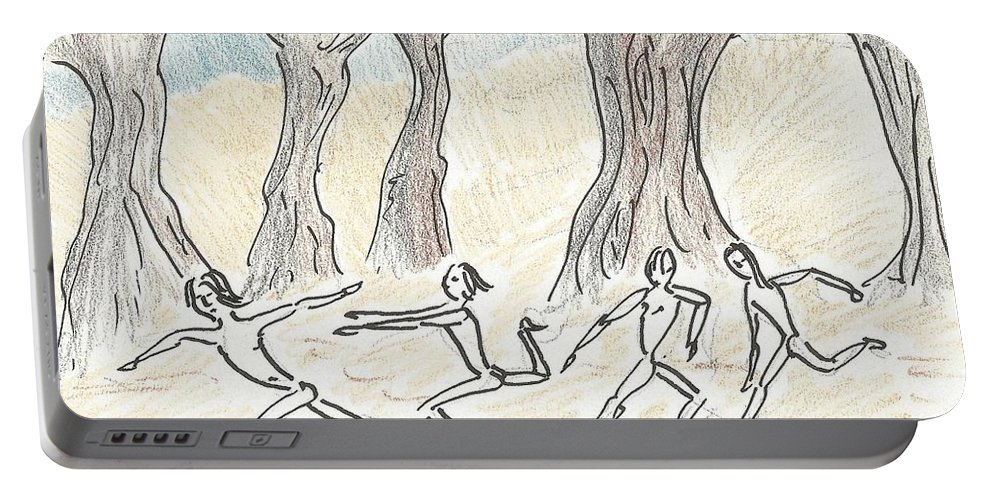 Dancing Portable Battery Charger featuring the drawing Dancing In The Mountain by Gabriel Coelho