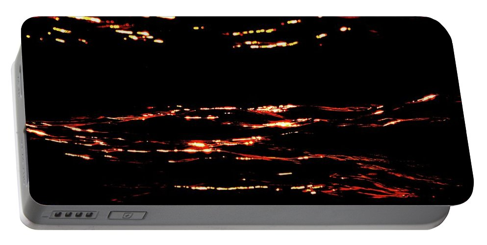 Abstract Portable Battery Charger featuring the digital art Dancing Light At Sunrise Two by Lyle Crump
