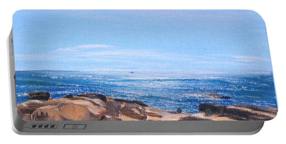 Seascape Portable Battery Charger featuring the painting Dancing Light by Lea Novak