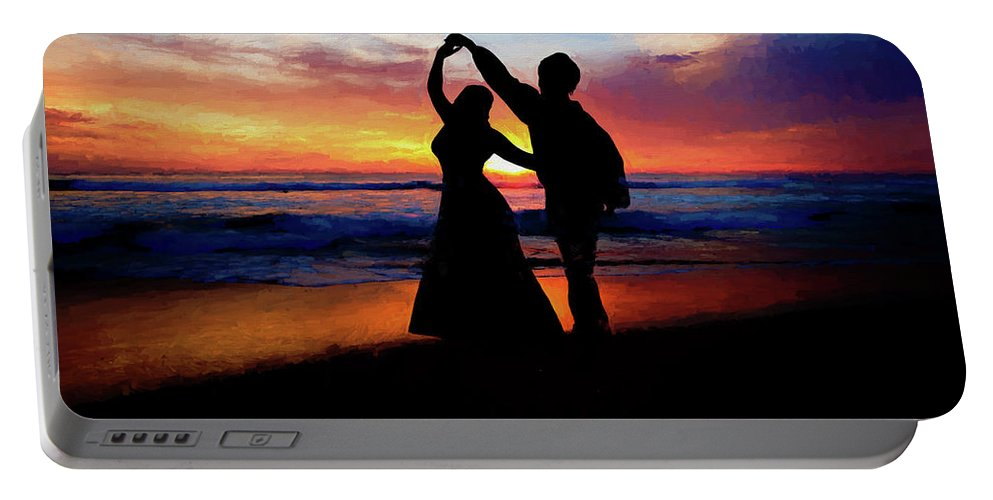 Shadow Portable Battery Charger featuring the painting Dancing On The Beach - Painting by Ericamaxine Price