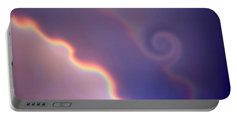 Rainbow Portable Battery Charger featuring the digital art Dancing Rainbows by Donna Blackhall