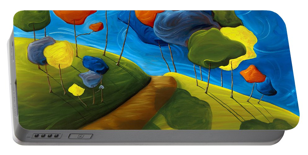 Landscape Portable Battery Charger featuring the painting Dancing Shadows by Richard Hoedl
